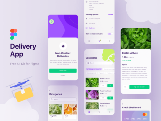 figma food delivery app UI free